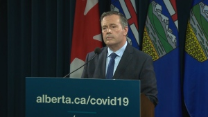 Premier Jason Kenney taking questions at a Wednesday evening press conference after announcing new COVID-19 health restrictions for the province. Sept. 15, 2021. (CTV News Edmonton)