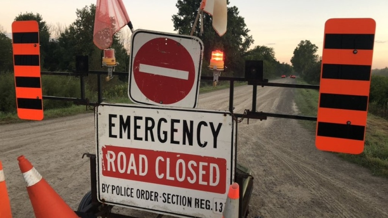 A road closed sign at Huron Street and Ausable Line west of Exeter, Ont. on Thursday, Sep. 16, 2021. (Kristylee Varley / CTV London)