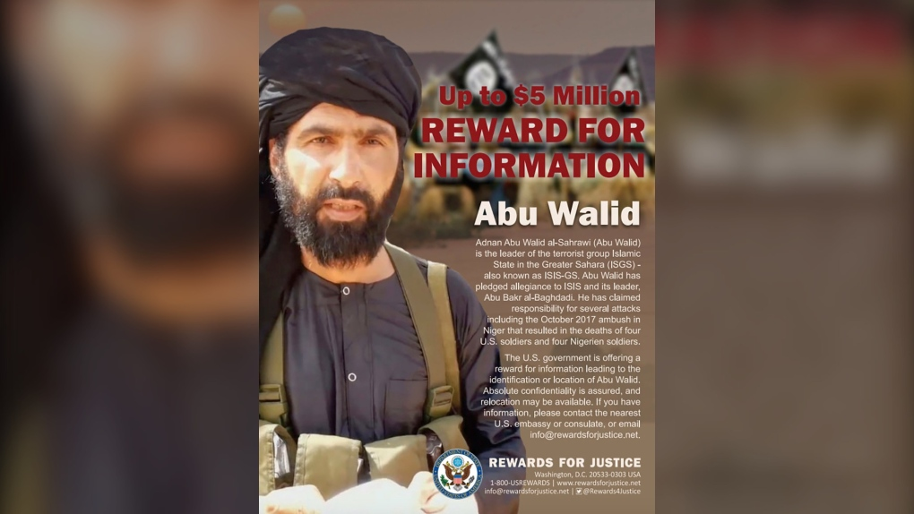 Wanted poster of Adnan Abu Walid al-Sahrawi