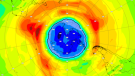 A map of the ozone hole over the South Pole. (Copernicus Atmosphere Monitoring Service)