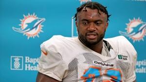 Miami Dolphins offensive tackle Austin Jackson talks with the media on Sept. 15, 2021. (David Santiago / Miami Herald via AP)