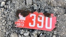 A licence plate from 1913 was discovered by crews working near the Centre Street Bridge. (Courtesy City of Calgary)