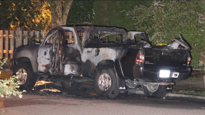 A torched truck was found in East Vancouver on Sept. 16, 2021.