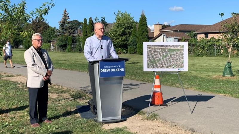 Windsor mayor Drew Dilkens provide details on a trails project in Ward 10 in Windsor, Ont., on Thursday, Sept. 16, 2021. (Bob Bellacicco / CTV Windsor)
