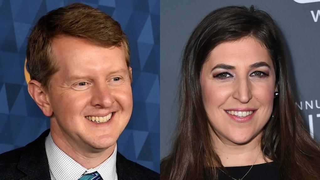 Ken Jennings, left, and Mayim Bialik