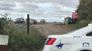 A body was found in a burnt vehicle on Sept. 15, 2021, around 9:30 p.m. near Township Road 530 and Range Road 221. RCMP remained on scene the following day.