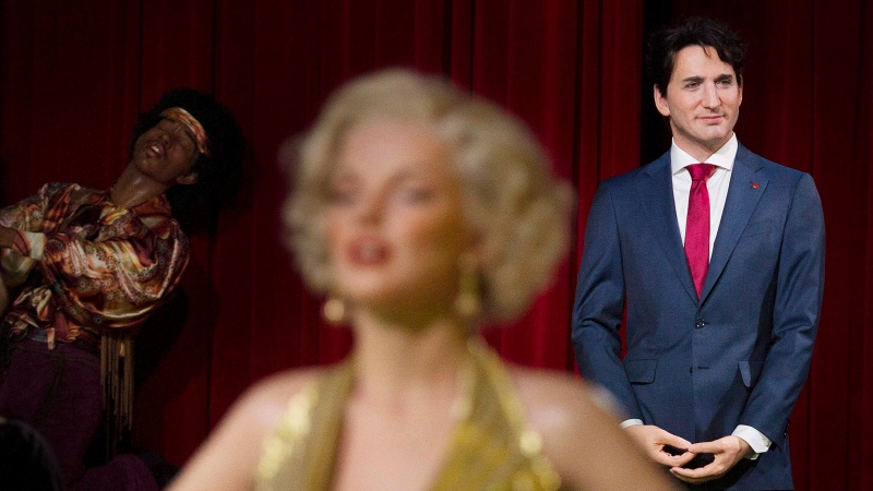A wax sculpture of Prime Minister Justin Trudeau is shown during a ceremony at the Grevin museum in Montreal, Tuesday, November 21, 2017. THE CANADIAN PRESS/Graham Hughes