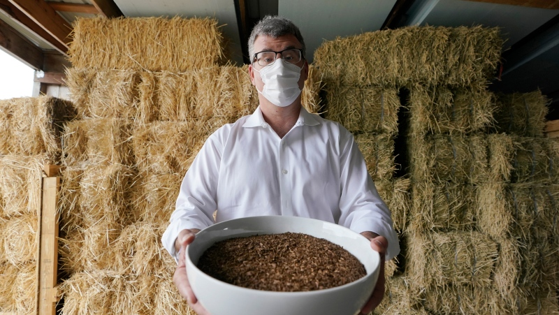 Micah Truman, CEO of Return Home, a company that composts human remains into soil, poses for a photo, Wednesday, Sept. 15, 2021, in Auburn, Wash., south of Seattle. Truman is holding a container of soil made with animal remains that is used to show what the product of their process looks like. Behind him are bales of straw, which is used in the two-month composing process. Earlier in September, Colorado became the second state after Washington to allow human body composting, and Oregon will allow the practice beginning next July. (AP Photo/Ted S. Warren)