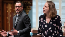 QS education critic Christine Labrie (right) joined the chorus of those calling for the resignation of Education Minister Jean-Francois Roberge (right). THE CANADIAN PRESS/Jacques Boissinot