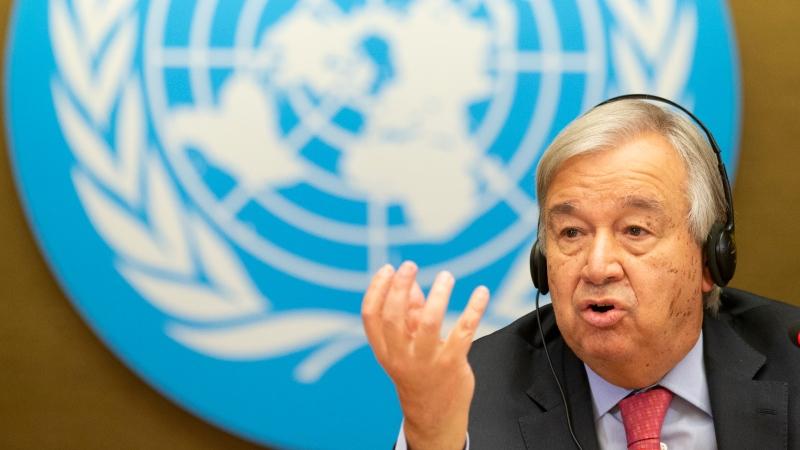 UN Secretary-General Antonio Guterres talks to media at a press conference at the European headquarters of the United Nation, in Geneva, Switzerland, Monday, Sept. 13, 2021. (Salvatore Di Nlfi/Keystone via AP)
