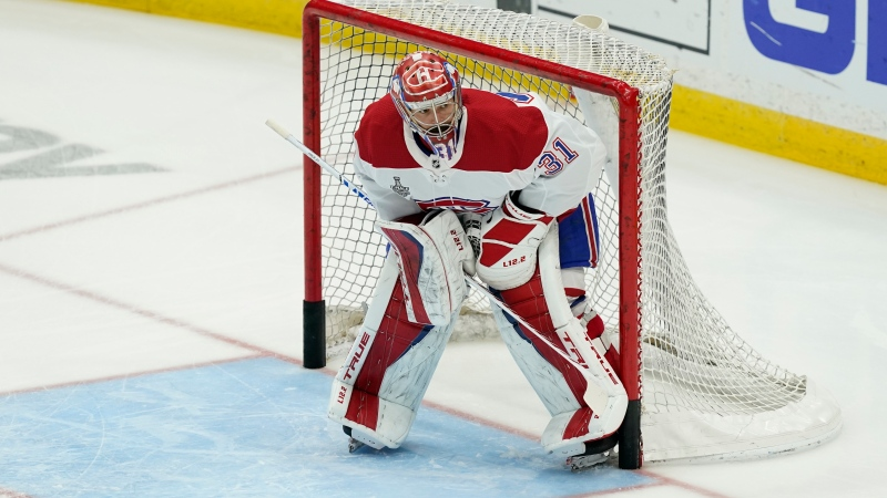Habs no. 1 goalie Carey Price was back on the ice Thursday for the first time since undergoing knee surgery in July. (AP Photo/Gerry Broome)