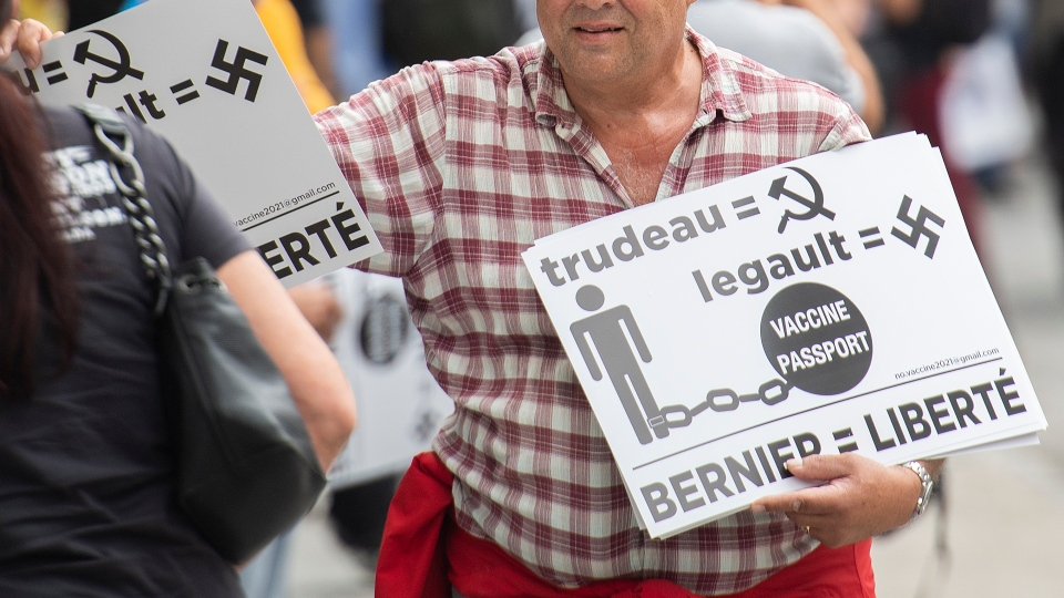 Protester in Quebec