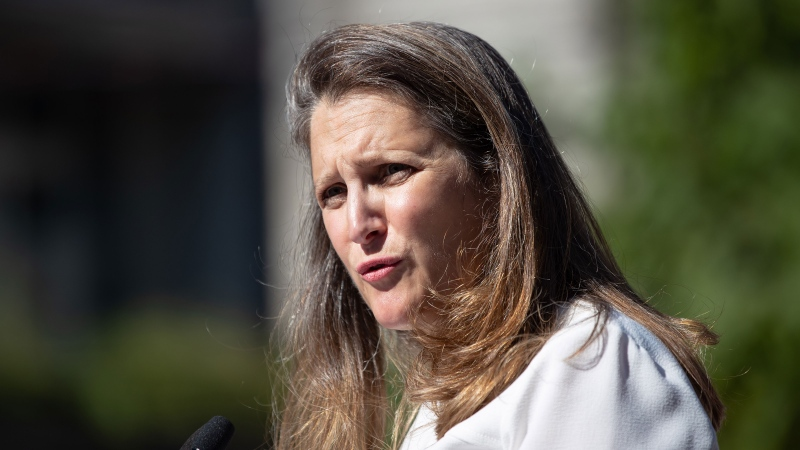Chrystia Freeland responds to questions after an announcement in the Downtown Eastside of Vancouver, on Wednesday, July 28, 2021. THE CANADIAN PRESS/Darryl Dyck