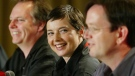 Director Guy Maddin, actor Isabella Rossellini, and actor Mark McKinney, talk about their movie The Saddest Music at a press conference for the film The Saddest Music at the Toronto International Film Festival in Toronto Monday Sept. 8, 2003. (CP PHOTO/ Tobin Grimshaw)