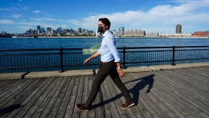 Liberal leader Justin Trudeau makes a campaign stop in Montreal, Quebec, on Thursday, Sept. 16, 2021. THE CANADIAN PRESS/Sean Kilpatrick