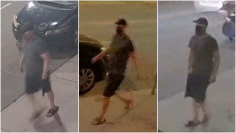 A man who allegedly spray painted hateful graffiti on a number of buildings in Leslieville this weekend is wanted by police. (Toronto Police Service)