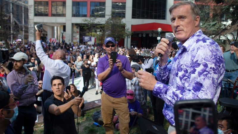Maxime Bernier, Leader of the Peoples Party of Canada (PPC) speaks at a rally in Toronto on Thursday, September 16, 2021. THE CANADIAN PRESS/Chris Young
