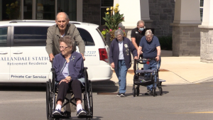 Residents at Allandale Station Retirement Home are speaking out on Thurs. Sept. 16., 2021 over concerns in poor quality of care (Mike Arsalides/CTV News Barrie)
