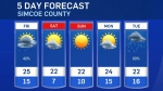 Five-day forecast for CTV Barrie: Sept. 16