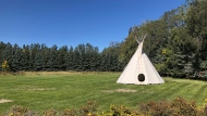 Chief Long Lodge Education Center has a on-site teepee for traditional ceremonies and learning. (Mackenzie Read/CTV News)