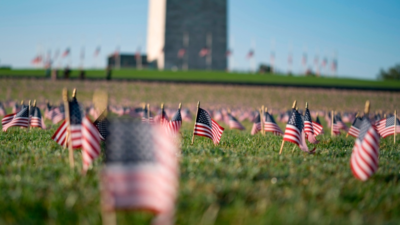 A memorial for people who have died as a result of of COVID-19 is seen on the National Mall on September 22, 2020 in Washington, DC. (Alex Edelman/AFP/Getty Images/CNN)