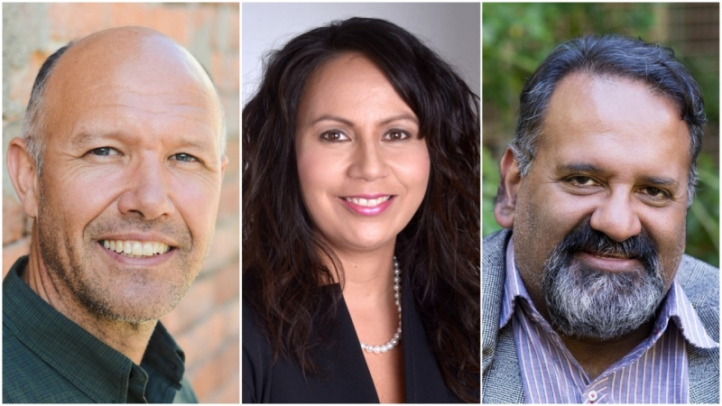 From left to right: Green candidates Mike Simpson, Cheryl Matthew and Imtiaz Popat, who are all running in crowded Metro Vancouver ridings.