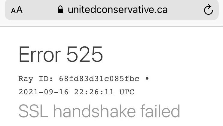 A screenshot showing the UCP's website was down on Thursday evening (CTV News Edmonton)