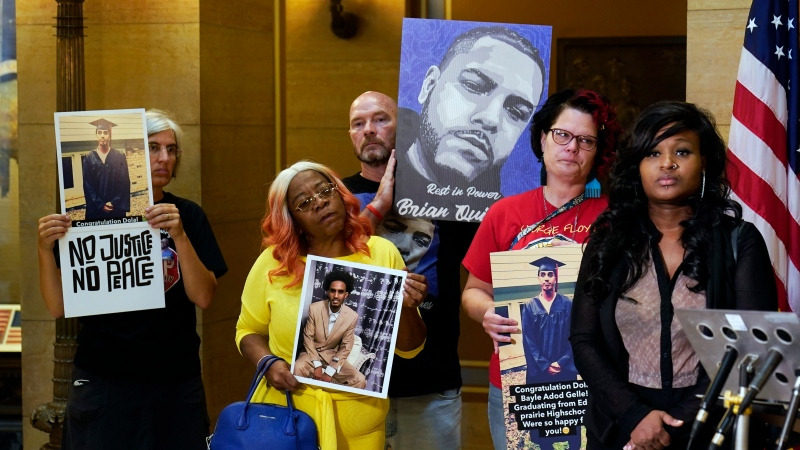 Protesters gathered in the State Capitol rotunda ahead of the debate to urge the Minnesota House to reject the compromise and pass tougher measures in police accountability in the Public Safety Bill, Tuesday, June 29, 2021, in St. Paul, Minn. (AP Photo/Jim Mone)