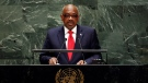 Hubert Alexander Minnis, former Prime Minister of Bahamas, addresses the 74th session of the United Nations General Assembly, Friday, Sept. 27, 2019. (AP Photo/Richard Drew)