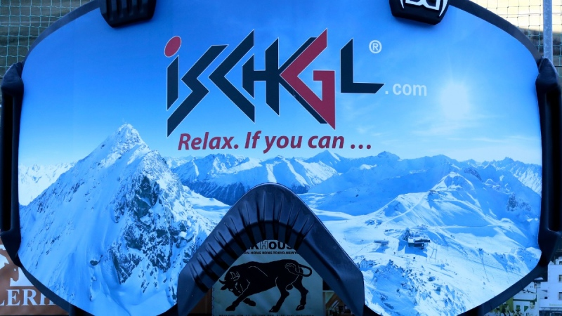 Advertising bears the slogan 'Relax, if you can' stands in Ischgl, Austria, on Nov. 26, 2020. (Matthias Schrader / AP)