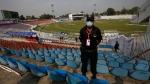 A Pakistani police officer stands at Pindi Cricket Stadium, on Sept. 17, 2021. (Anjum Naveed / AP)