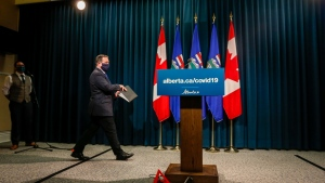 Alberta Premier Jason Kenney announces new COVID-19 measures for Alberta in Calgary, Wednesday, Sept. 15, 2021.(THE CANADIAN PRESS/Jeff McIntosh)