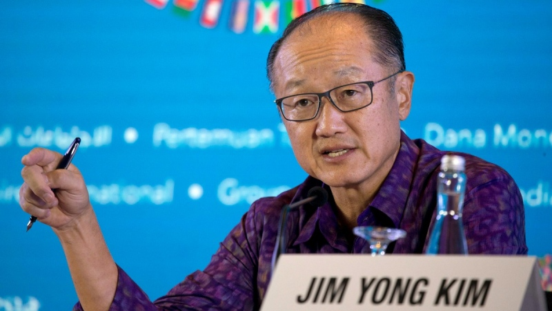 World Bank President Jim Yong Kim speaks during a press conference ahead of the annual meetings of the IMF and World Bank in Bali, Indonesia, on Oct. 11, 2018. (Firdia Lisnawati / AP)