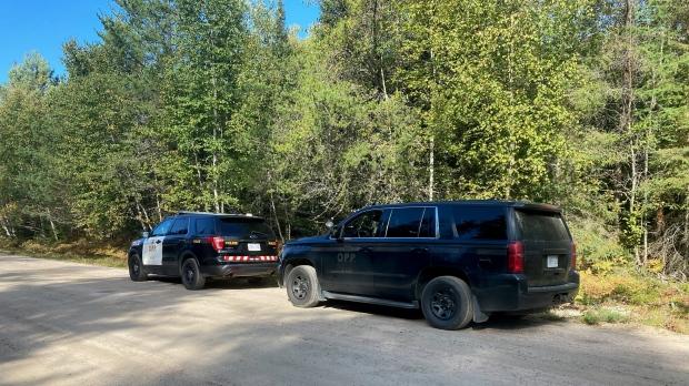 OPP vehicles on Airport Road in Sundridge after plane crash. Sept. 17/21 (Eric Taschner/CTV Northern Ontario)