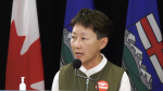 Dr. Verna Yiu, president and CEO of Alberta Health Services, tells media on Sept. 16, 2021, the province is considering transferring patients to Ontario as a fourth COVID-19 wave threatens Alberta's hospital capacity.