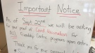 A notice inside the Friendship Centre in St. Marys, Ont. informs visitors vaccine passports will be enforced, Friday, Sept. 17, 2021. (Sean Irvine / CTV News)