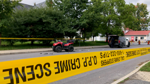 Ontario Provincial Police investigate a fatal ATV crash in Finch, Ont. on Friday, Sept. 17. (Dave Charbonneau/CTV News Ottawa)