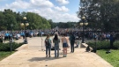 Hundreds gather at UC Hill on the Western University campus for a walkout on Friday, Sept. 17, 2021. (Nick Paparella / CTV News)