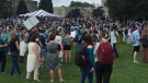 Hundreds of students walk out of classes at Western University in London, Ont. on Friday, Sept. 17, 2021 to protest sexual violence on campus. (Daryl Newcombe / CTV News)
