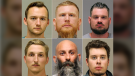 This photo combo shows from top left, Kaleb Franks, Brandon Caserta, Adam Dean Fox, and bottom left, Daniel Harris, Barry Croft, and Ty Garbin. (Kent County Sheriff via AP File)