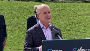 Conservative Leader Erin O'Toole speaks in London, Ont. on Friday, Sept. 17, 2021. (Bryan Bicknell / CTV News)