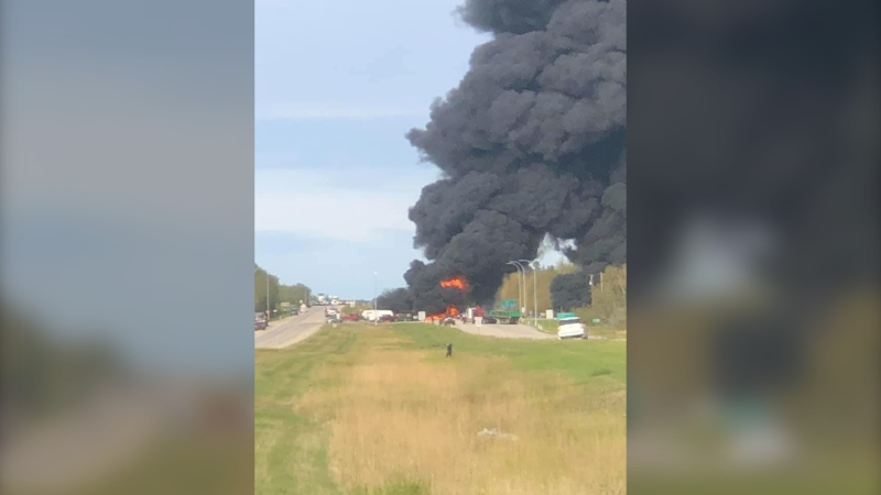 A crash at Highways 43 and 33 on Sept. 17, 2021, closed traffic in the area. (Courtesy: Hubert Van Der Wilk)