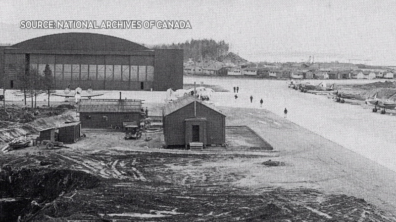 The air force base in Tofino was built in 1941: (National Archives of Canada)