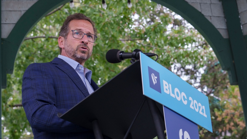 Bloc Quebecois leader Yves-Francois Blanchet responds to a question during a news conference in Longueuil, Que. on Wednesday, September 15, 2021. THE CANADIAN PRESS/Paul Chiasson