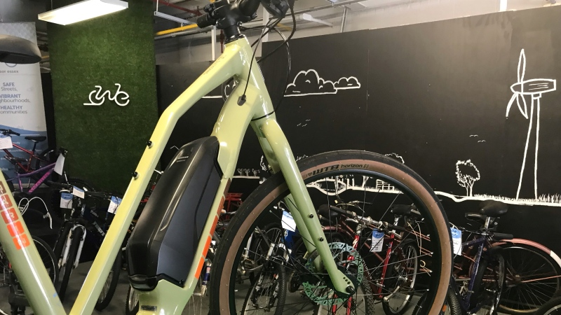 A battery-assisted bicycle sits on display inside The Bike Kitchen, which is the retail division of Bike Windsor-Essex. (Michelle Maluske/CTV Windsor)