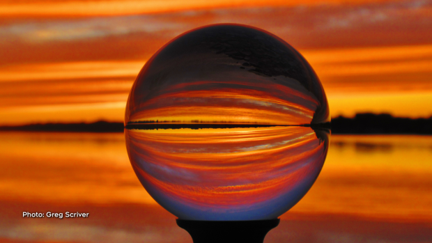 Crystal lens photo ball, looking at the orange mirror reflection over the Ottawa river. (Greg Scriver/CTV Viewer)