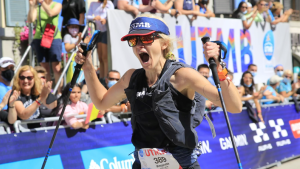 Mandy Wallace of Brockville celebrates at the end of the Ultra-Trail du Mont Blanc race in Europe. (Photo courtesy: Mandy Wallace)