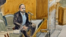 In this courtroom artist's sketch, former R. Kelly employee Tom Arnold testifies at the R&B star's trial in New York, Thursday, Aug. 19, 2021. (AP Photo/Elizabeth Williams)