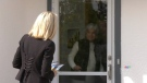 Conservative candidate Candice Bergen speaks with a voter in the Portage-Lisgar riding on Sept. 17, 2021, during the last week of campaigning before the 2021 federal election. (Source: Mike Arsenault/ CTV News Winnipeg)