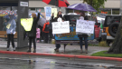 Greater Victoria nurses rally outside John Horgan's constituency office in Langford Sept. 17, 2021. (CTV News)